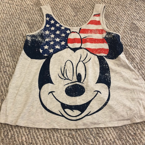 fc034ed5 Disney Tops | Distressed Red White Blue Bow Minnie Mouse Tank | Poshmark